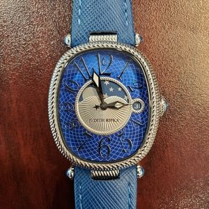 Judith Ripka Oval Case Blue Band Womens Watch